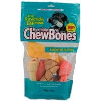 "2LB ASSORTED RAWHIDE BONES 6""+-372"